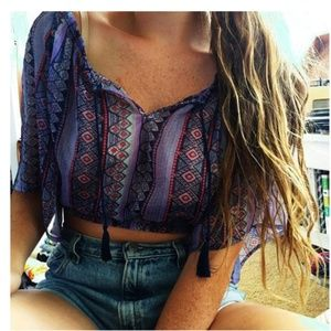Hollister | Sheer Cropped Aztec Print Top | XS
